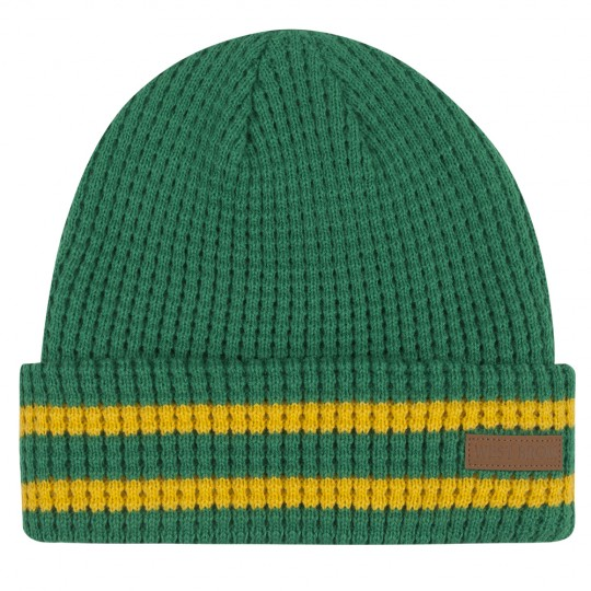 GREEN/YELLOW WAFFLE BEANIE HAT