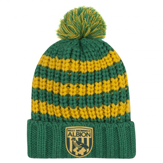 GREEN/YELLOW CHILD CHUNKY STRIPE BEANIE