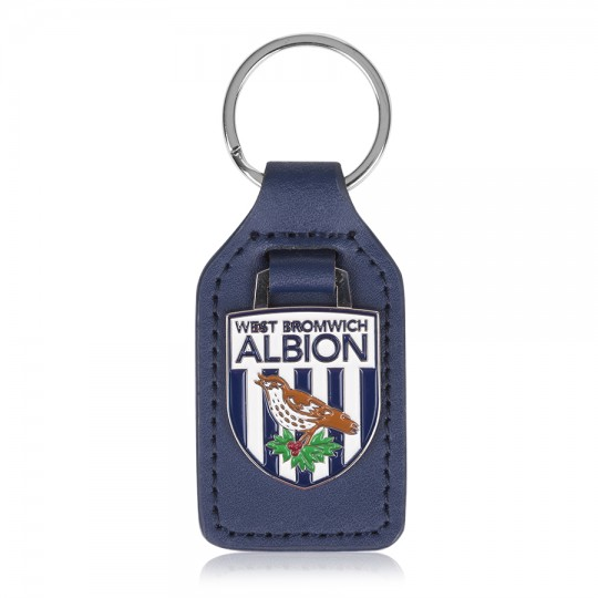 LEATHER BACKED CREST KEYRING